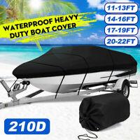 16-18/17-19/20-22ft 210D Waterproof Trailerable Boat Cover V-hull Fish Ski Bass
