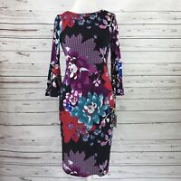 Calvin Klein Women's Sheath Dress Bell Sleeve Black Floral  Size 6 NWT