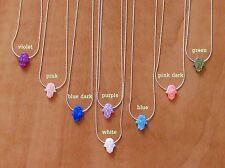 Hamsa necklace, silver necklace, opal hand necklace, hand pendant, charm hamsa