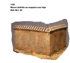 WWII brick walls with tile in corner for diorama 1/35 accessories building ruins