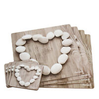 Set of 4 Placemats & Coasters Pebble Heart Shabby Chic Table Place Settings Mats