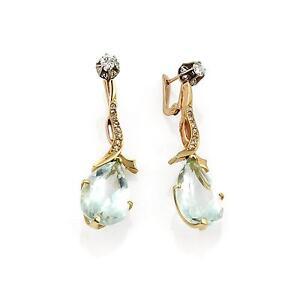 Genuine Aquamarine Faceted Rondelle Fine Silver Cluster Dangle Earrings