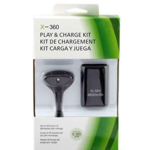 BLACK PLAY AND CHARGE KIT + RECHARGEABLE BATTERY FOR XBOX 360 UK New