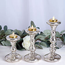 3 Gold Mercury Glass Tealight Reversible Candle Holders Party Centerpieces Sale