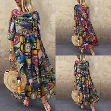 US STOCK Women Vintage Long Shirt Dress Crew Neck Oversize Ethnic Midi Dress NEW
