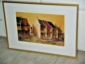 Quiet Corner by Ric Elliot 1933-95 Aust. Lace Terrace Houses Framed Print Red Br