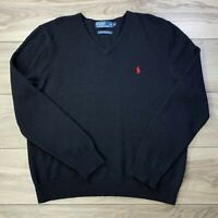 Polo Ralph Lauren Men's Italian Lambs Wool Black V-Neck Pullover Sweater Size XL
