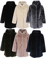 Ladies Italian Stripe-Cut Faux Fur Hooded Coat Women Winter Coatigan Coat Jacket