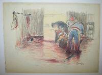 RENEFER (Les BOUCHERS, un cochon vidé) 1900 DESSIN signé au crayon par l'artiste