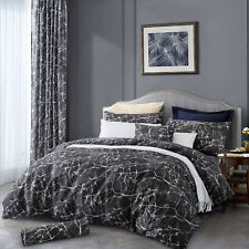 Black Marble Effect Duvet Cover King Size Bedding Set 2 Pillowcases + 1 Bedsheet