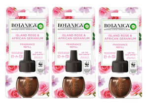 3x Airwick Botanica Electrical Refill Island Rose & African Geranium 19ml