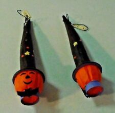 Lot/2 Haloween Wooden  Pumpkin Head WItch Ornaments With Bat Bow Ties