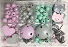 Bastelbox 32 FUCHS für 2 Schnullerketten in mint + rosa + hellgrau für Girls