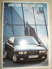 BMW 518i, 520i, 525i, 530i e 535i BROCHURE GAMMA 1990 ed 1