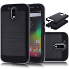 Metal Brushed Hybrid Dual Layer Case Cover+Tempered Glass Protector For Motorola