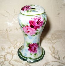 Antique 1800's Nippon Hat Pin Holder Hand Painted Moriage in Floral Rose Design