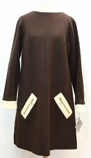 BNWT KELLY ARDEN Ladies Brown & Cream Worsted Wool Shift Dress with Pockets  M