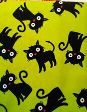 Green/Black Cats Halloween Fq Cotton Fabric 18x21 Free Shipping