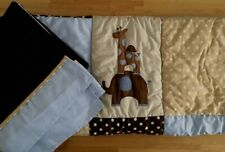 Lambs & Ivy Jake Giraffe Elephant Crib Quilt & Bed Skirt Brown Blue
