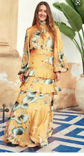 BNWT H&M X JOHANNA ORTIZ LONG FLORAL PATTERNED DRESS WITH SCARF COLLAR SIZE UK 8
