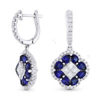 925 Silver White Topaz Sapphire Woman Hoop Dangle Drop Earrings Birthday Wedding