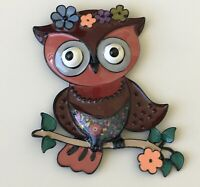 Unique Large Owl flower brooch pin enamel on metal