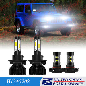 Fit For Jeep Wrangler 2010-2020 2021 LED Headlight Hi/Lo Beam+Fog Light 4x Bulbs