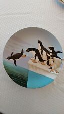 """Penquin Plate 8 1/2"""" Round - 1984 Made In Japan"""