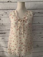 Via Signoria Women?s Printed Tank Top Sz S Pink White Floral Layered Neck Tie