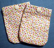 Lot 2 pochettes tissu Multi-usage avec pression plastique 9 x 11 cm