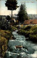Antonsthal Sachsen ~1910/20 Erzgebirge Bach Fluß Kind Trachten Spiel Häuser Wald