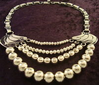 TAXCO MEXICAN STERLING SILVER BEADED BEAD NECKLACE MEXICO