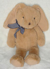 The Childrens Place Plush Tan Bunny Rabbit Gingham Check Ribbon Bow 11""