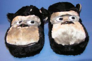 Hausschuhe Plüsch Affe Tierhausschuhe Gorilla schwarz witzige lustige Pantoffel
