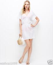 NWT Ann Taylor Pom Pom Trim Swimsuit Cover Up V-neck elasticized waist WHITE L