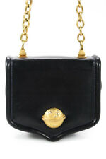 Vicenza Inc Black Leather Gold Tone Chain Strap Small Shoulder Handbag