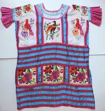 VTG Tehuana Huipil Hand Embroidered Tunic Oaxaca Mexico Frida Kahlo Dress