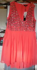 Lovedrobe hand embellished size 26 coral sleeveless skater style dress