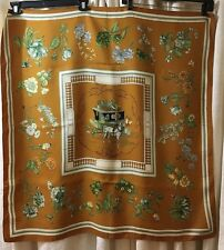 Hermès Quai aux Fleurs Silk Scarf Designed by Hugo Grygkar, Bronze Background