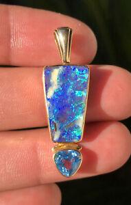 Vtg Modernist 18k Yellow Gold Australian Black Opal & Swiss Blue Topaz Pendant