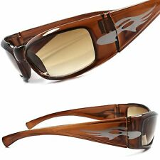 Vintage Motorcycle Riding Biker Brown Mens Cool Wrap Around Sport Sunglasses