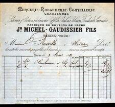 """THIERS (63) USINE de BOUTONS, MERCERIE COUTELLERIE """"MICHEL & GAUDISSIER"""" en 1893"""
