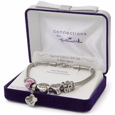 """Connections from Hallmark Multi-Crystal Stainless Steel """"I Love You"""" Charm Br..."""