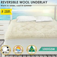 Aus Made Reversible Wool Woollen Underlay Underblanket Topper Pad - ALL SIZE