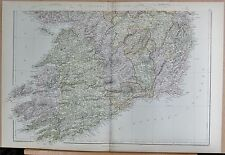 1882 LARGE ANTIQUE MAP - IRELAND SOUTH DUBLIN WATERFORD CORK LIMERICK