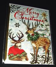 "Punch Studio 3-D Christmas Card, Envelope & Seal Reindeer 64433 5"" x 7"""