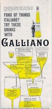 1960 Italiano Galliano Liqueur PRINT AD 7 illustrated glasses with recipes