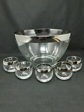 Mid Century Modern  Dorothy Thorpe Roly Poly Glass Silver Band Punch Bowl & Cups