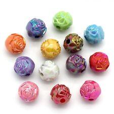 200 Flower Rose AB Coated Rainbow Shine Acrylic Round Beads 8mm  J23569W