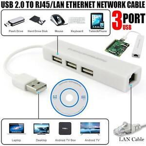 3 Port USB 2.0 Hub To RJ45 LAN Ethernet Network 1000mbps Gigabit Adapter Cable
